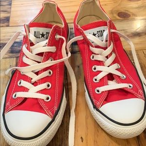 Pair of used red Converse shoes, great condition.